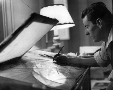 Paul Almasy, 'Bernard Buffet grave aux illustrations de Voyages Fantastiques de Bernard Buffet ', 1958