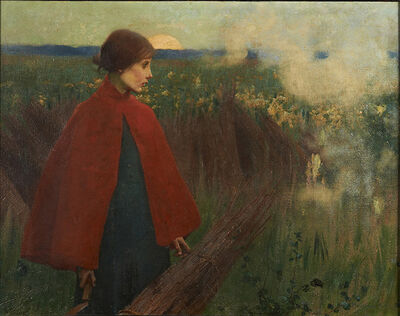 Marianne Stokes, 'The Passing Train', 1890