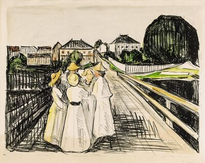 Edvard Munch, 'On the bridge', 1910