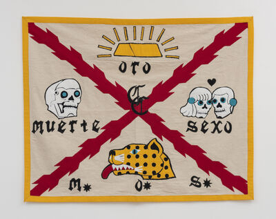 Umar Rashid (Frohawk Two Feathers), 'M.O.S. (Death, Gold, Sex). Battle standard (flag) of the Cazador Company of New Spain', 2020