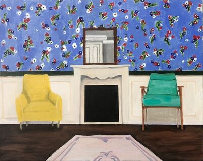 Polly Shindler, 'Fireplace with Yellow and Teal Chairs', 2018