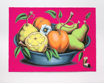 Pedro Pedro, 'Bowl of Fruit with Flower and Cigarette Butt', 2020