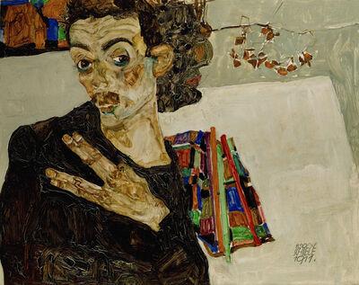 Egon Schiele, 'Selbstportrait mit gespreizten Fingern (Self-Portrait with Spread Fingers)', 1911