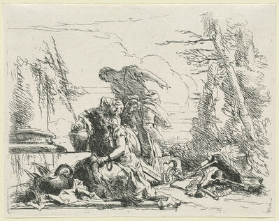 Giambattista Tiepolo, 'Women and Men Regarding a Burning Pyre of Bones', published 1785