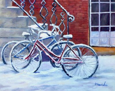 Bhavisha Patel, 'Bicycles in Snow V', 2017