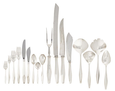 Gio Ponti, '56-piece sterling silver four-piece flatware set for nine in the Diamond pattern', des. 1958
