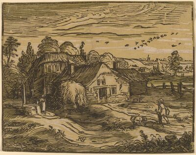 Hendrik Goltzius, 'Landscape with a Farmhouse', probably 1592/1595
