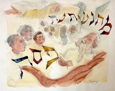 Chaim Gross, 'Original Watercolor Judaica Painting Passover Haggada Hebrew Mah Nishtana', 20th Century