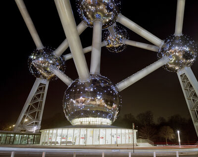 "Jade Doskow, 'Brussels 1958 World's Fair, ""A New Humanism,"" Atomium at Night', 2008"