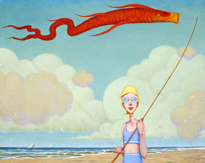 "Fred Calleri, '""Toy Koi"" oil painting of a girl with a bonnet flying a koi kite on the beach', 2020"