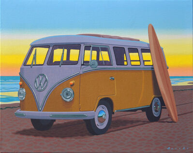 "Rob Brooks, '""Samba at Sunset"" oil painting of surfboard leaning up against an orange VW bus', 2020"