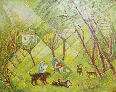 Marie Vorobieff Marevna, 'Marevna painting with a sunbathing Marika with dogs'