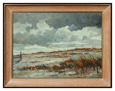 Eric Sloane, 'Eric Sloane Original Oil Painting On Board Signed New England Landscape Artwork', 20th Century