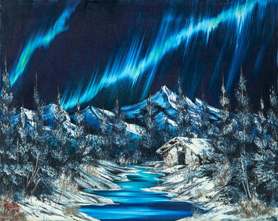 Bob Ross, 'Original Signed Bob Ross Northern Lights Painting Contemporary Art', 1979