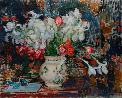 Jacques-Émile Blanche, 'Bouquet d'iris blanches et de tulipes rouges,', ca. 1911