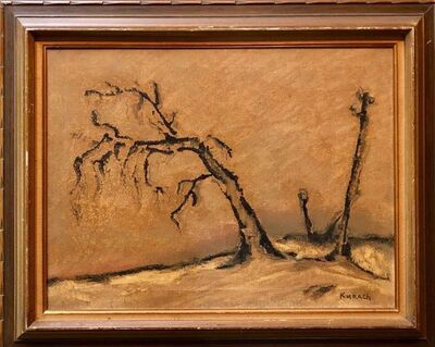 Ivan Kurach, 'Silenzio No19, Lonely Tree. Italian Expressionist, Surrealist Oil Painting', Mid-20th Century
