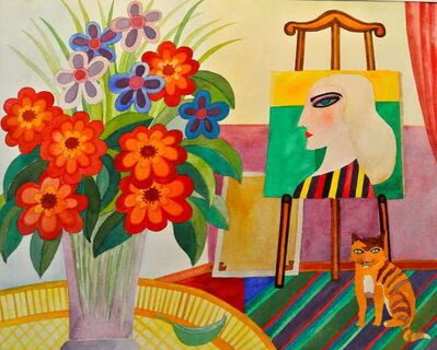 Hajo Malek, 'Atelier in Blumen,  Studio with Floral Bouquet and Cat', 20th Century