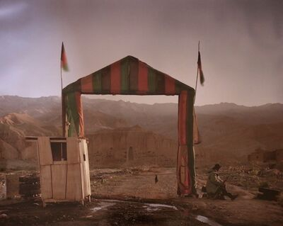 "Simon Norfolk, 'Victory arch built by the Northern Alliance at the entrance to a local commander's HQ in Bamiyan, from ""Afghanistan: Chronotopia', 2002"