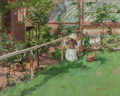 Irving Ramsey Wiles, 'At the Clothesline', ca. 1886–1896