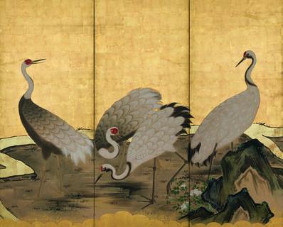 Kano School, 'Cranes by a Stream (T-3631)', Edo Period (1615-1868) 1800