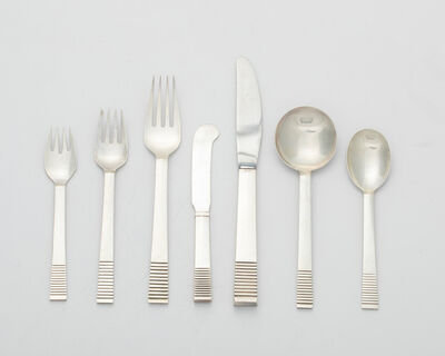 """Georg Jensen, 'A Georg Jensen """"Parallel"""" sterling silver flatware service'"""