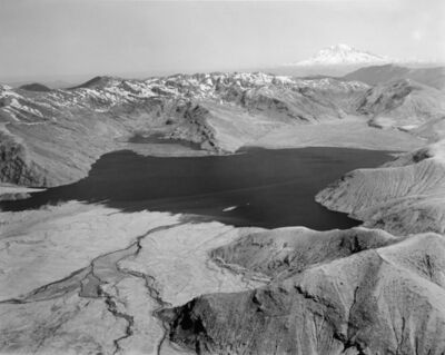 Frank Gohlke, 'Aerial view: Spirit Lake from the South, Mt. Rainier on horizon, 50 miles away (North end of lake filled with logs from eruption)', 1982