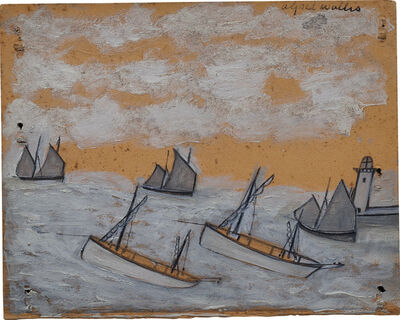 Alfred Wallis, '(Recto) Luggers nearing a Harbour and Lighthouse; (Verso) The 'Bessie' and the 'Flying Scud' sailing towards a harbour', ca.1928