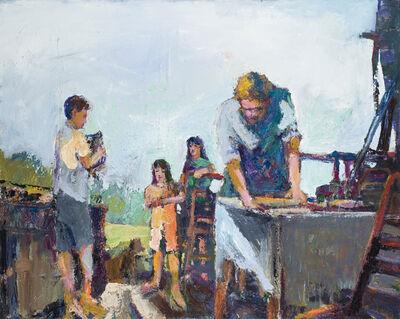 William Rushton, 'The Apprentice - figurative family and children - oil on canvas bold color', 2018