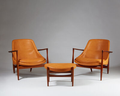 "Ib Kofod-Larsen, 'Set of Armchairs and footstool ""Elizabeth"" designed by Ib Kofod Larsen for Christensen & Larsen, Denmark. 1956. ', 1956"