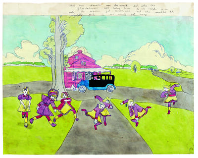 Henry Darger, 'Young Rebonna Dorthereans Blengins Catherine Isles Female, One whiplash-tail', 1910-1970