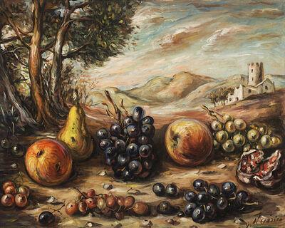 Giorgio de Chirico, 'Frutta nel paesaggio mid 50s'