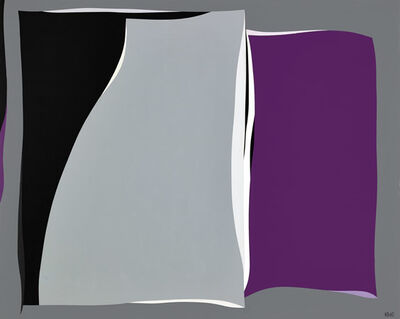 Karl Benjamin, 'Black and Gray Curves with purple', 1960