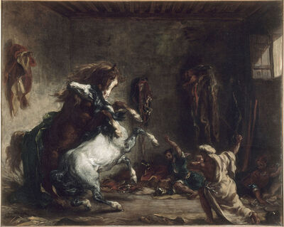 Eugène Delacroix, 'Arab Horses Fighting in a Stable', 1860