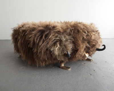 The Haas Brothers, 'Unique Edward Fur-Long bench from the Beast series, in Beach Boy Icelandic sheep fur, with carved ebony horns, cast bronze cheetah feet, and a cast bronze tongue. Designed and made by The Haas Brothers, Los Angeles, CA.', 2014