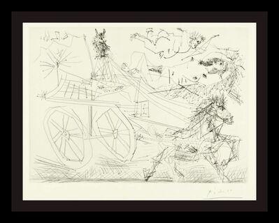 Pablo Picasso, 'Charrette Foraine Condute Par Un Petit Animal, Avec Nu Et Amour Dans Le Ciel (B. 1398; BA 1462)', 1968