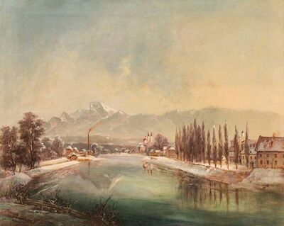 "Jakob Canciani, 'View over the city ""Villach""', ca. 1860"