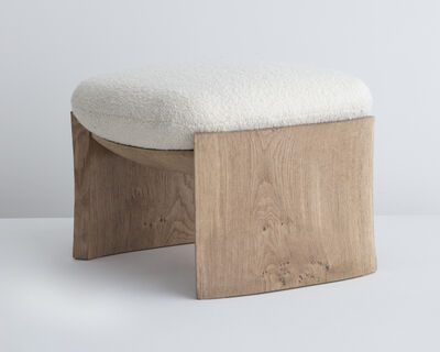 "Pierre Yovanovitch, '""MAD"" Stool. Made to Order by Pierre Yovanovitch, Paris. Hand-carved oak. Upholstered by Ateliers Jouffre, Lyon. Illustrated with linen fabric designed by Maison AD. Designed 2017, this example produced in 2018.', 2018"