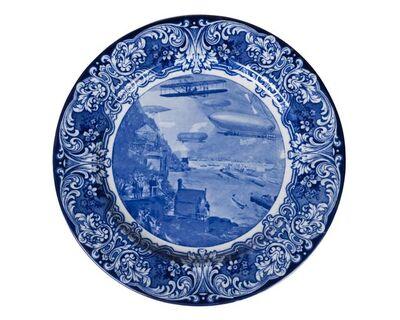 "Royal Doulton, 'a blue and white 'The ""Aero"" Plate', Hudson-Fulton Celebration, September & October 1909, Higgins & Seiter, New York'"