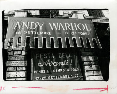 Andy Warhol, 'Andy Warhol, Photograph of Andy Warhol Exhibition Banner in Venice, Italy, 1977', 1977
