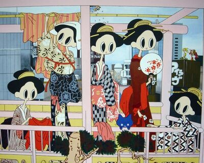 Maki Hosokawa, 'There are girls on the cloth-drying place stand in Shibuya, Venus was born on the building on the other hand. And the god of the wind was late for five minutes', 2008