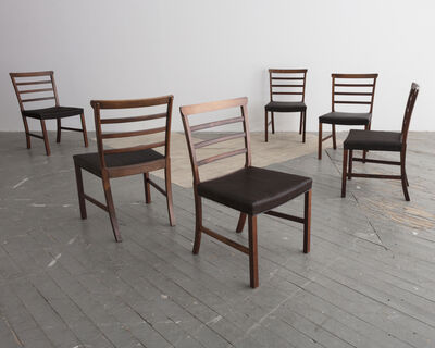 Ole Wanscher, 'Set of eight (8) Horsehair and Brazilian Rosewood Ladder Back Dining Chairs', ca. 1940