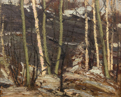 Tom Thomson, 'Poplar Point, Rock, Sun', 1916
