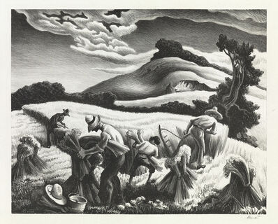 Thomas Hart Benton, 'Cradling Wheat', 1939