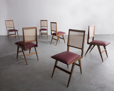 Eisler, 'Set of six (6) dining chairs in rosewood with cane back and upholstered seat', ca. 1950