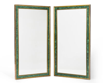 P.E. Guerin, 'A pair of brass and malachite veneer wall mirrors'