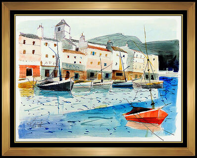 Charles Levier, 'Charles Levier French Water Seascape Signed Original Gouache Painting Artwork', 20th Century