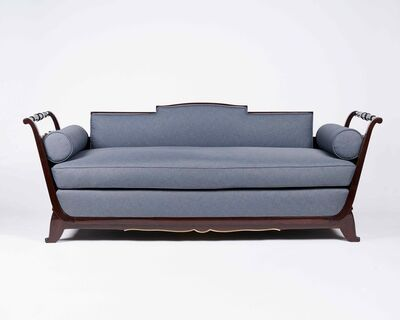 Jules Leleu, 'Footed Art Deco Settee', France-1940s