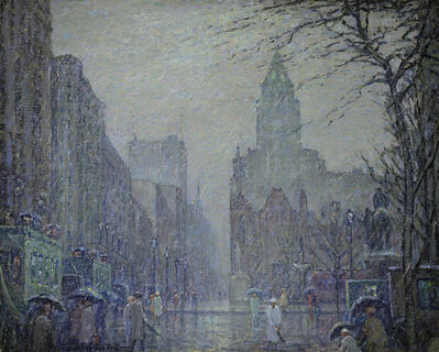 Frederick Usher De Voll, 'Showery Day, Fifth Avenue at the Plaza'