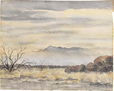 Kakunen Tsuruoka, 'untitled (golden hazy landscape with mesquite at left)', ca. 1942-44