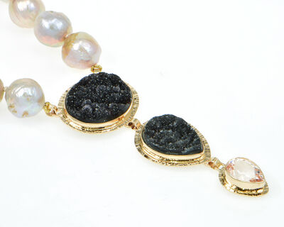 Michael Baksa, 'Black Drusy Quartz & Kunzite necklace with pink Freshwater Ming Pearls'